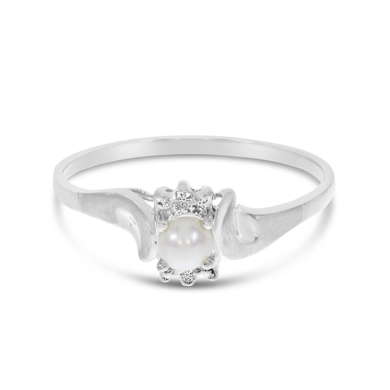Color Merchants 10k White Gold Freshwater Cultured Pearl And Diamond Satin Finish Ring