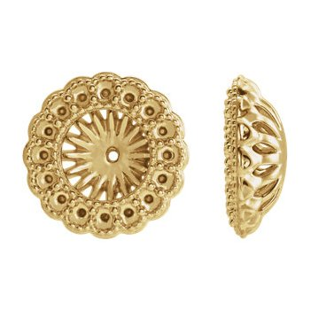 18K Yellow 6 mm ID Earring Jacket Mounting