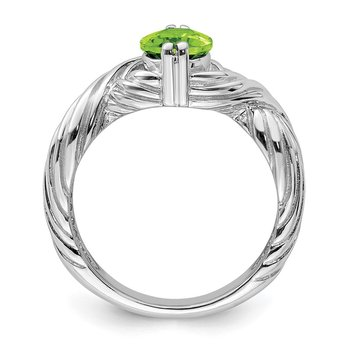 Sterling Silver Rhodium Peridot Ring