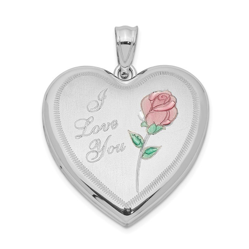 Quality Gold Sterling Silver Rhodium-plated 24mm Enameled Rose Heart Locket