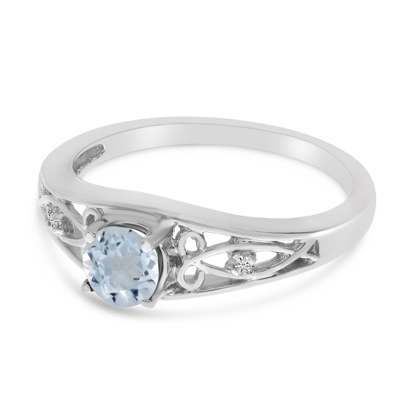 Color Merchants 14k White Gold Round Aquamarine And Diamond Ring