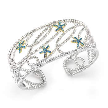 "14K  gold and Sterling Silver Blue Sapphire star fish cuff with our  signature  hinge 1"" wide on top"