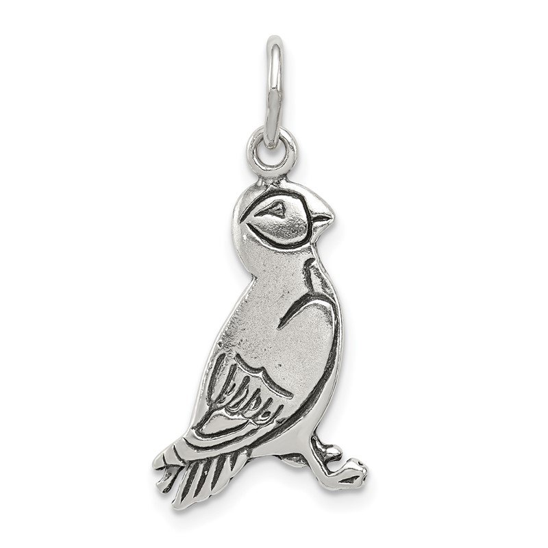 Quality Gold Sterling Silver Antiqued Puffin Charm