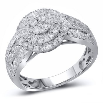 14kt White Gold Womens Round Diamond Cluster Double Halo Ring 1.00 Cttw