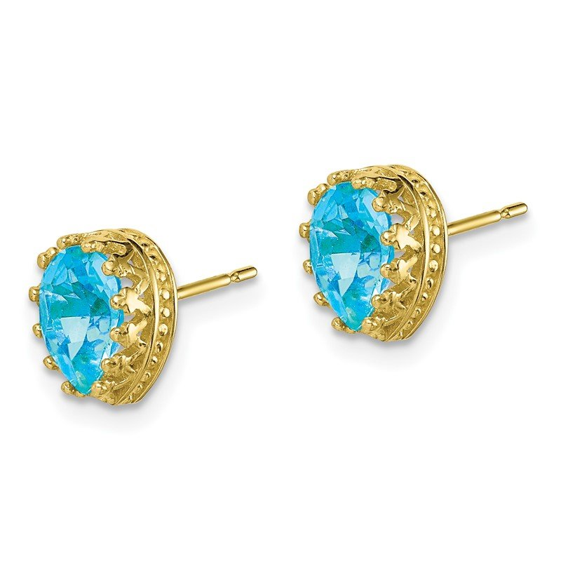 10k Tiara Collection 8mm Polished Pear Sky Blue Topaz Earrings
