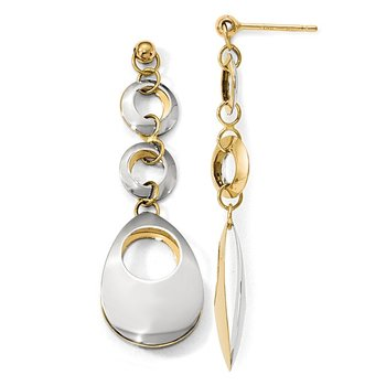 Leslie's 14K Two-tone Polished Circle and Oval Reversible Post Earrings