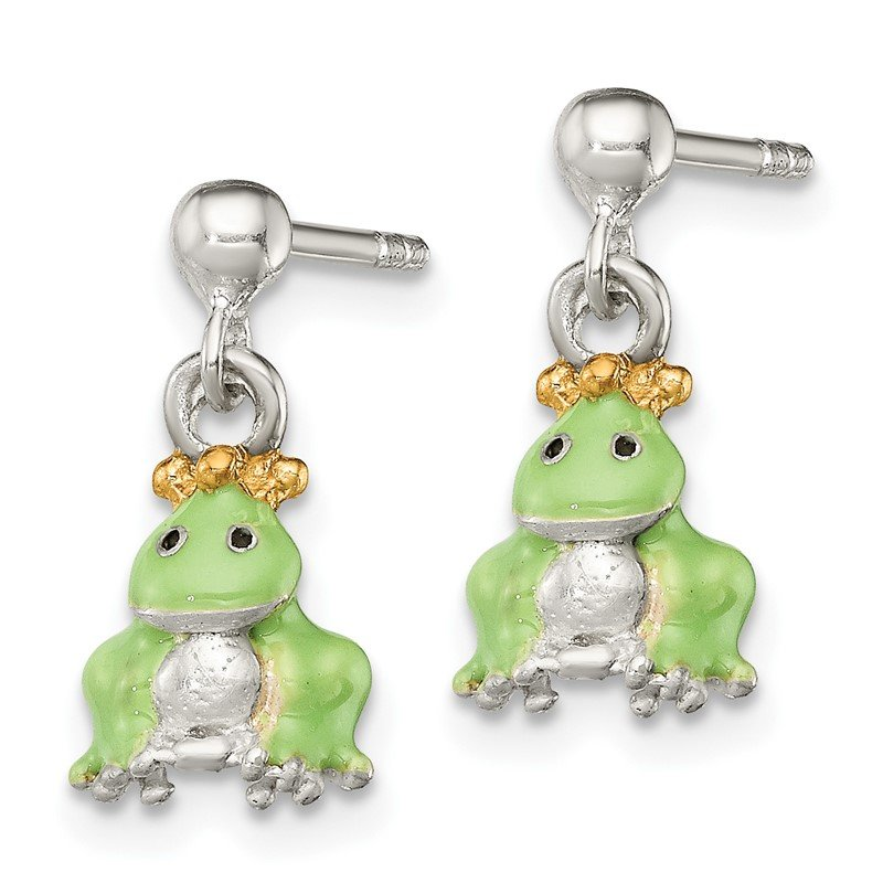 Quality Gold Sterling Silver Children's Gold-plated/Enameled Prince Frog Earrings