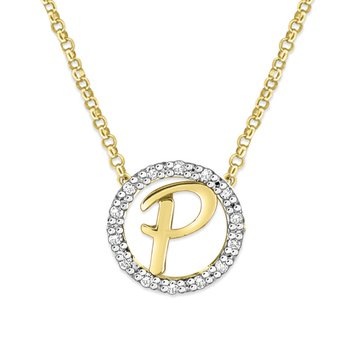 "Gold and Diamond Mini Halo ""P"" Initial Necklace"