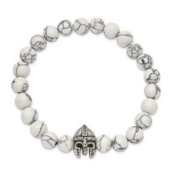 Stainless Steel Antiqued & Polished White Howlite Stretch Warrior Bracelet