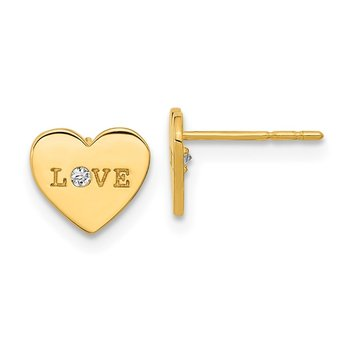 14k Madi K Polished Love CZ Heart Post Earrings