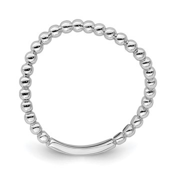 14K White Gold Beaded Waved Ring