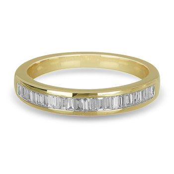 14K YG Diamond Parallel Baguettes Wedding Band