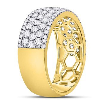 14kt Yellow Gold Womens Round Diamond Pave Fashion Band Ring 2.00 Cttw