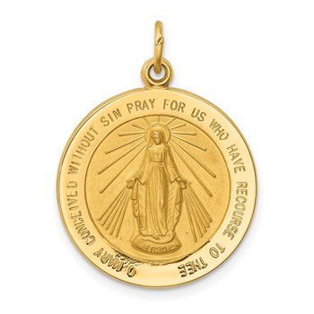 14k Solid Polished/Satin Medium Round Miraculous Medal