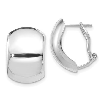 14K White Gold Polished Omega Back Earrings
