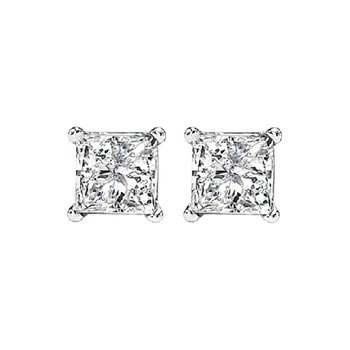 Princess Cut Diamond Studs in 14K White Gold (5/8 ct. tw.) I1/I2 - G/H