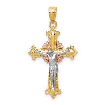 14K Tri-color Polished Crucifix Pendant