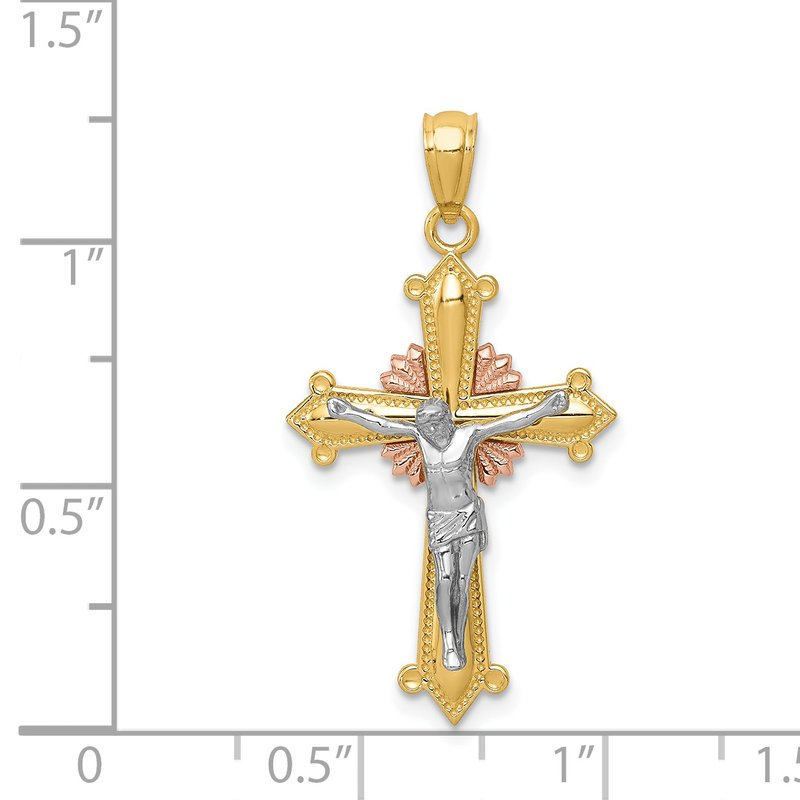 Quality Gold 14K Tri-color Polished Crucifix Pendant