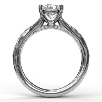 Single Row Channel Milgrain Engagement Ring
