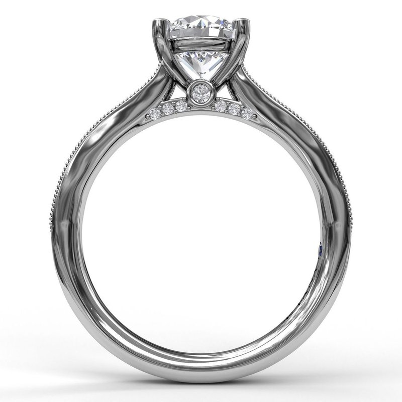 Fana Single Row Channel Milgrain Engagement Ring