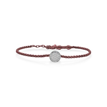 Burgundy Chain Expressions Scattered Bracelet with 14kt White Gold & Diamonds