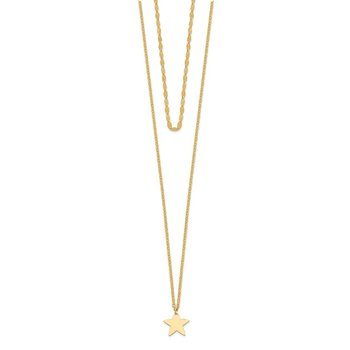 14k Star 2 Layer Adjustable from 13-16in Choker Necklace