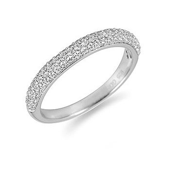 14K WG Diamond Wedding Band Pave Setting