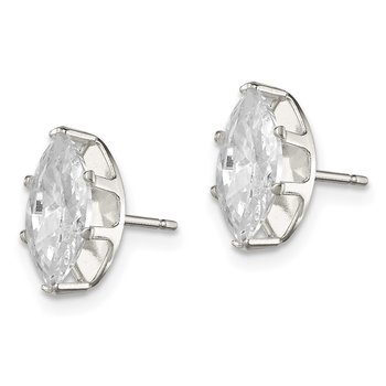 Sterling Silver 10x5 Marquise Snap Set CZ Stud Earrings