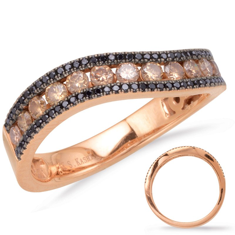 S. Kashi  & Sons Rose Gold  & Black Diamond Band
