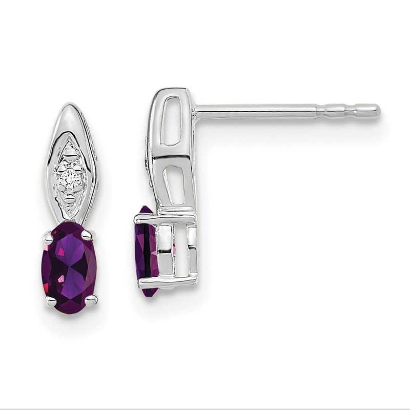 Lester Martin Online Collection 14k White Gold Amethyst and Diamond Post Earrings
