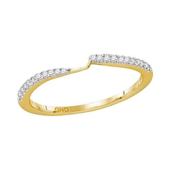 14kt Yellow Gold Womens Round Diamond 2-stone Wedding Band 1/10 Cttw
