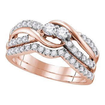 14kt Rose Gold Womens Round Diamond 2-Stone Bridal Wedding Engagement Ring Band Set 3/4 Cttw