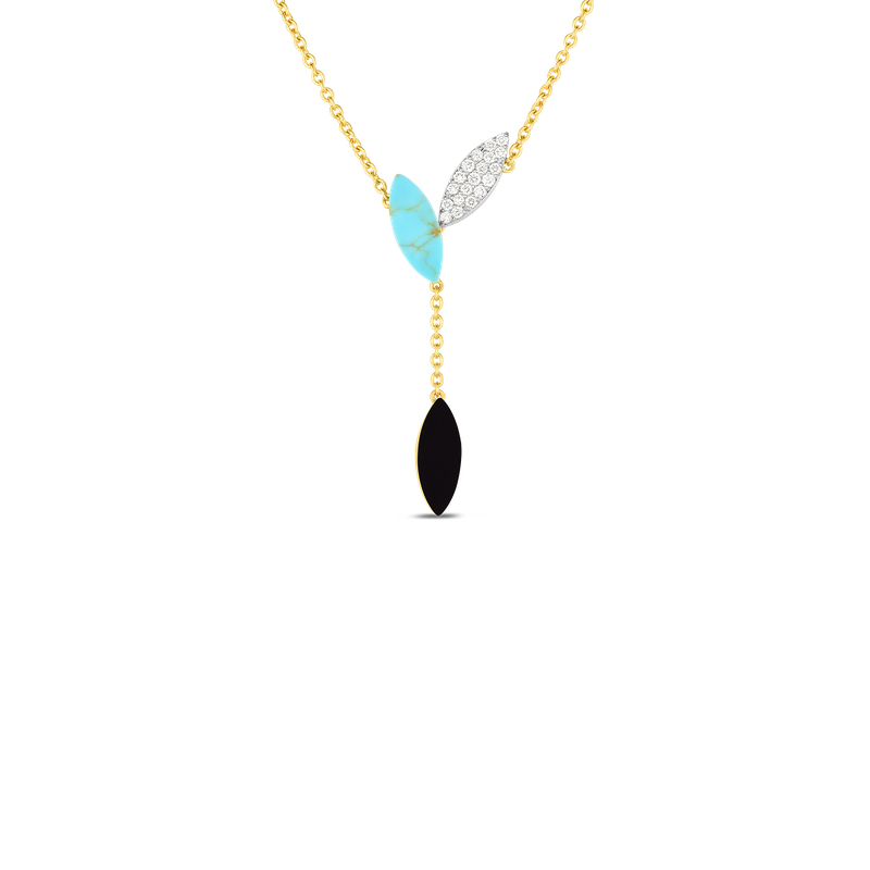 Roberto Coin 18Kt Gold Petal Pendant With Diamonds, Black Jade And Turquoise