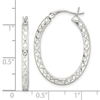 Sterling Silver Diamond Cut 2.5mm Oval Hoop Earrings