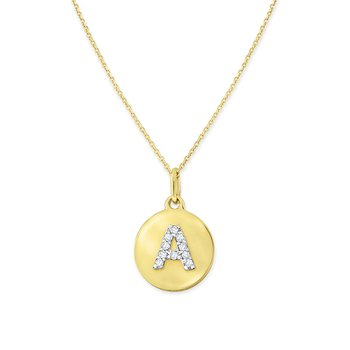 Diamond Uppercase Mini Disc Initial A Necklace