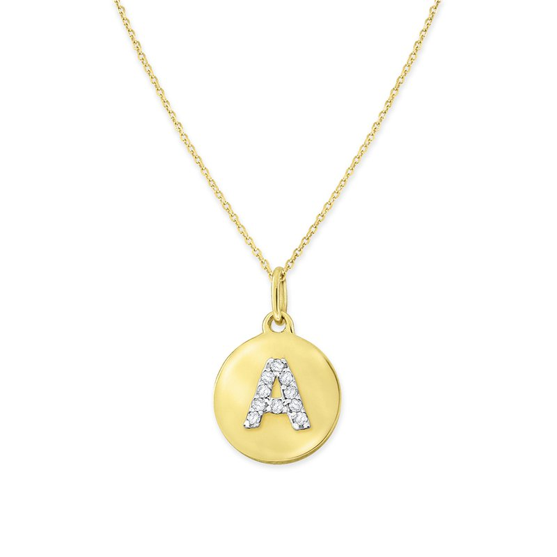 KC Designs Diamond Uppercase Mini Disc Initial A Necklace