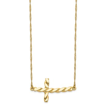 14k Polished Twisted Sideways Cross 17 inch Necklace