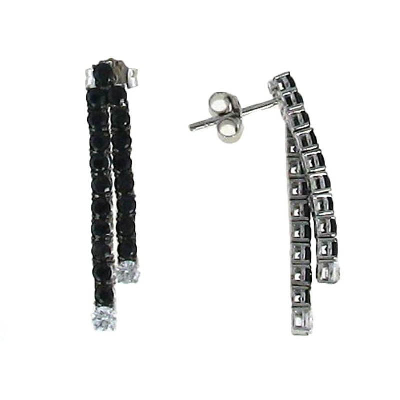 Roberto Coin 18Kt Gold Line Earrings With Black Sapphires And White Diamonds