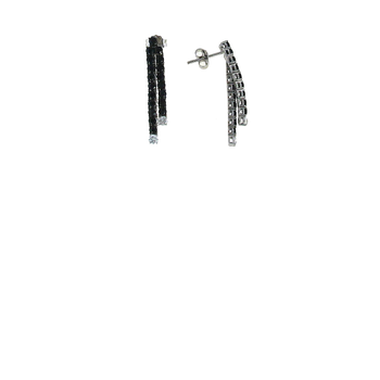 18Kt Gold Line Earrings With Black Sapphires And White Diamonds