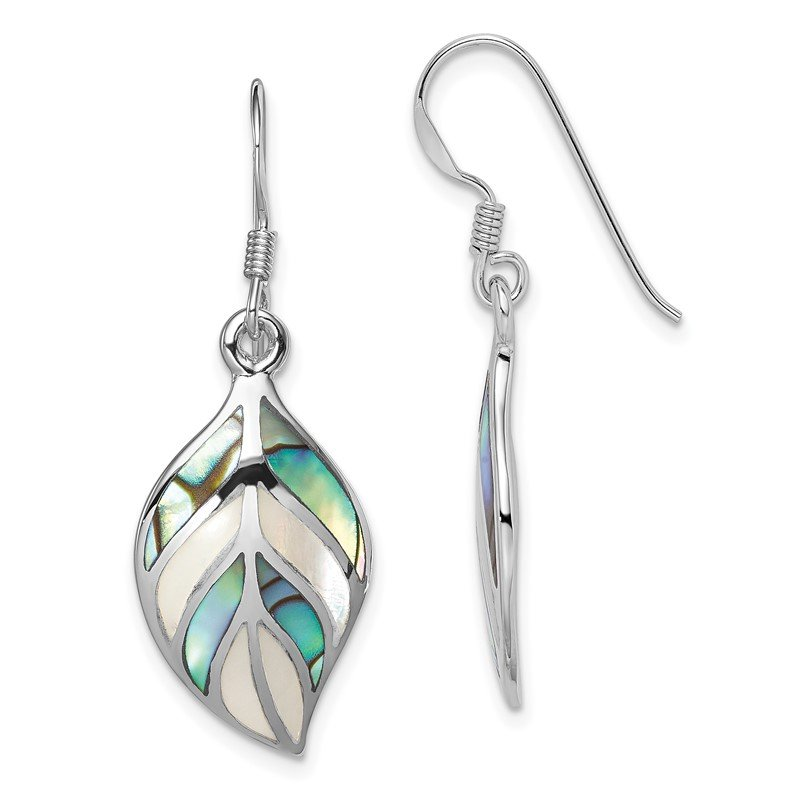 Quality Gold Sterling Silver Rhodium Leaf MOP and Abalone Dangle Earrings