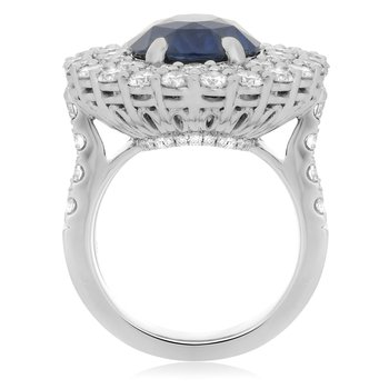 Platinum Double Halo Sapphire Ring