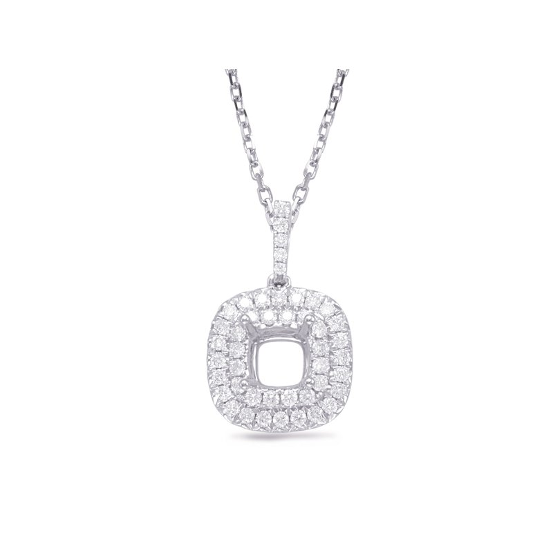 S. Kashi  & Sons Diamond Pendant For 1.25ct Cushion Cente