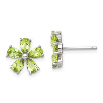 Sterling Silver Peridot Floral Earrings