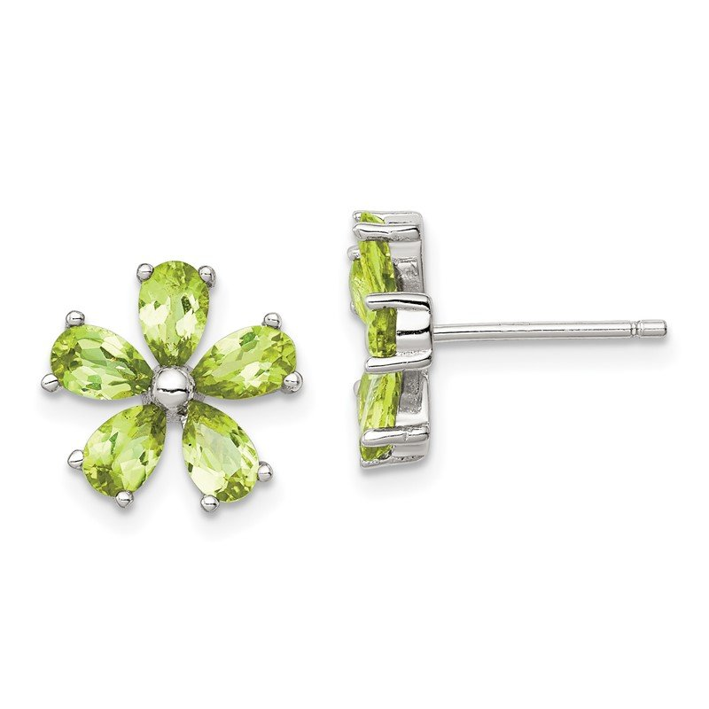 Quality Gold Sterling Silver Peridot Floral Earrings