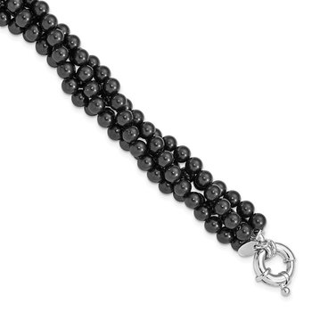 Sterling S Majestik Rh-pl 4 Row 4-5mm Blk Imitat Shell Pearl Twisted Bracel