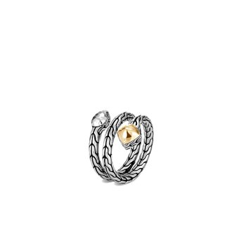 Classic Chain Coil Ring in Hammered Silver and 18K Gold