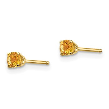 14k 3mm November/Citrine Post Earrings