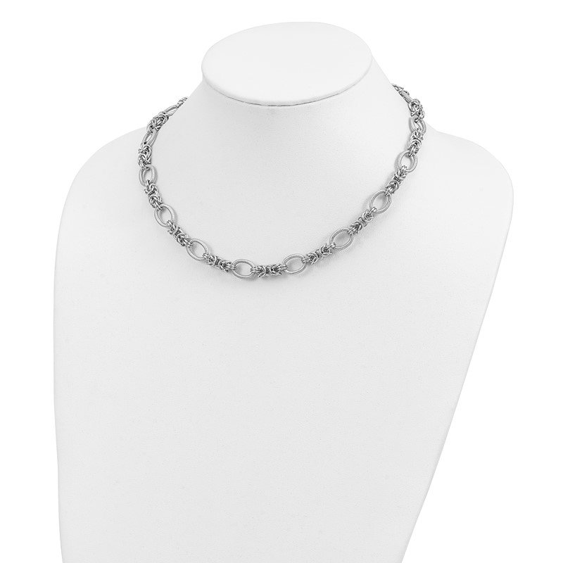 Quality Gold Sterling Silver Rhodium-plated Polished and Textured Necklace