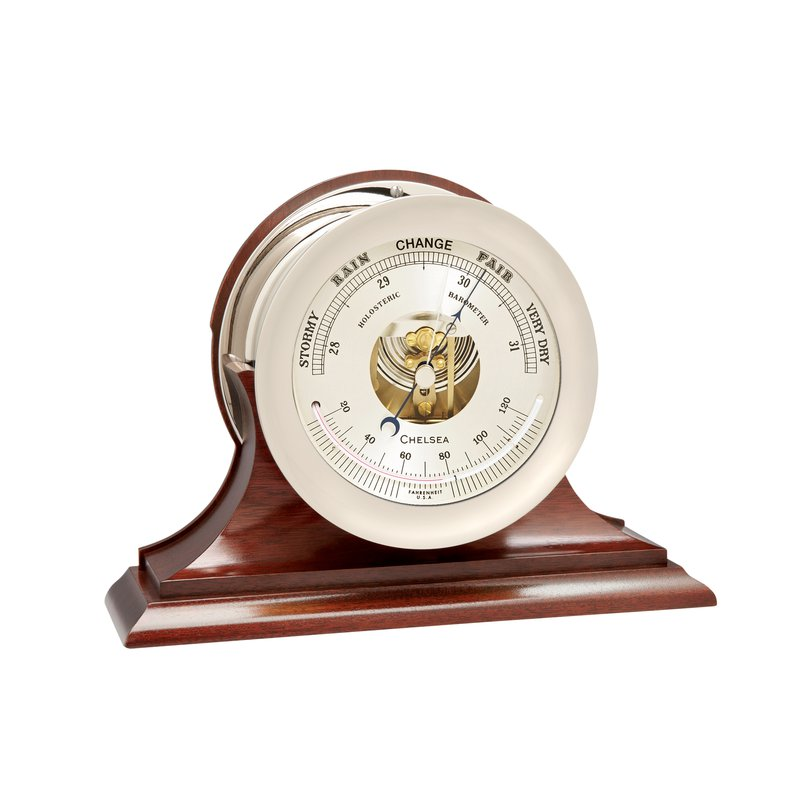 "Chelsea Clocks 6"" Ships's Bell Barometer in Nickel on Traditional Base"
