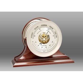"6"" Ships's Bell Barometer in Nickel on Traditional Base"